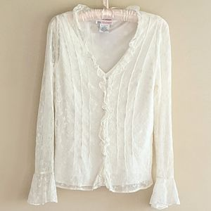 90's Vintage Ivory Lace Top by Jane Seymour